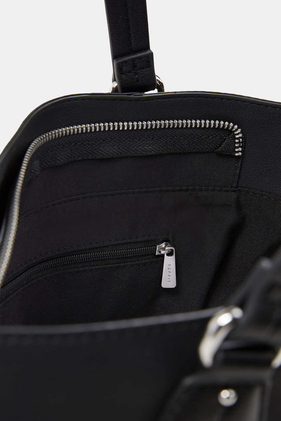 Faux leather shoulder bag, vegan, BLACK, detail image number 4