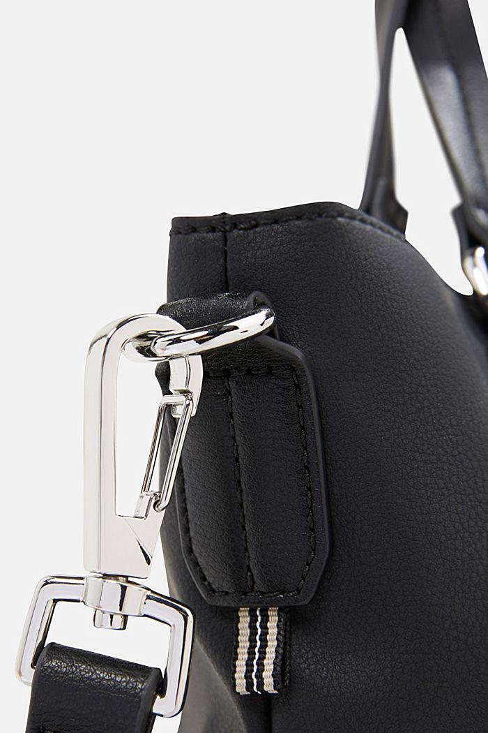 City bag in leerlook, veganistisch, BLACK, detail image number 3