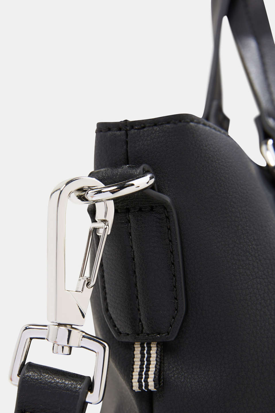 Faux leather shoulder bag, vegan, BLACK, detail image number 3