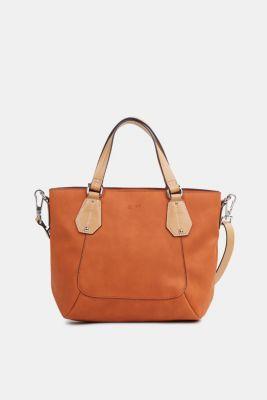 Faux leather shoulder bag, vegan, BURNT ORANGE, detail