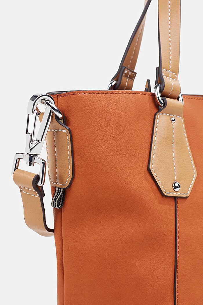 City Bag in Leder-Optik, vegan, BURNT ORANGE, detail image number 3