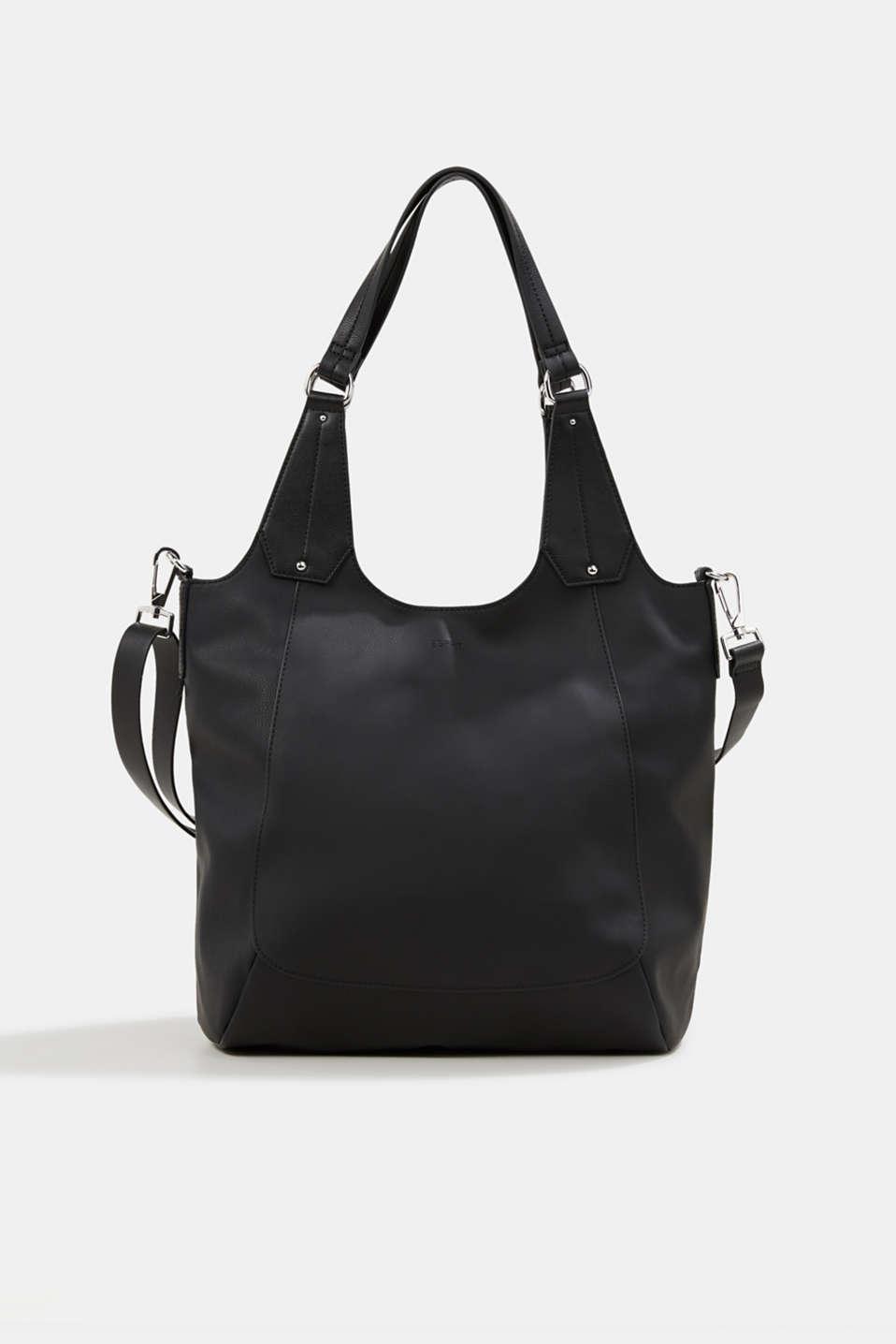 XL shopper in faux leather, vegan, BLACK, detail image number 0