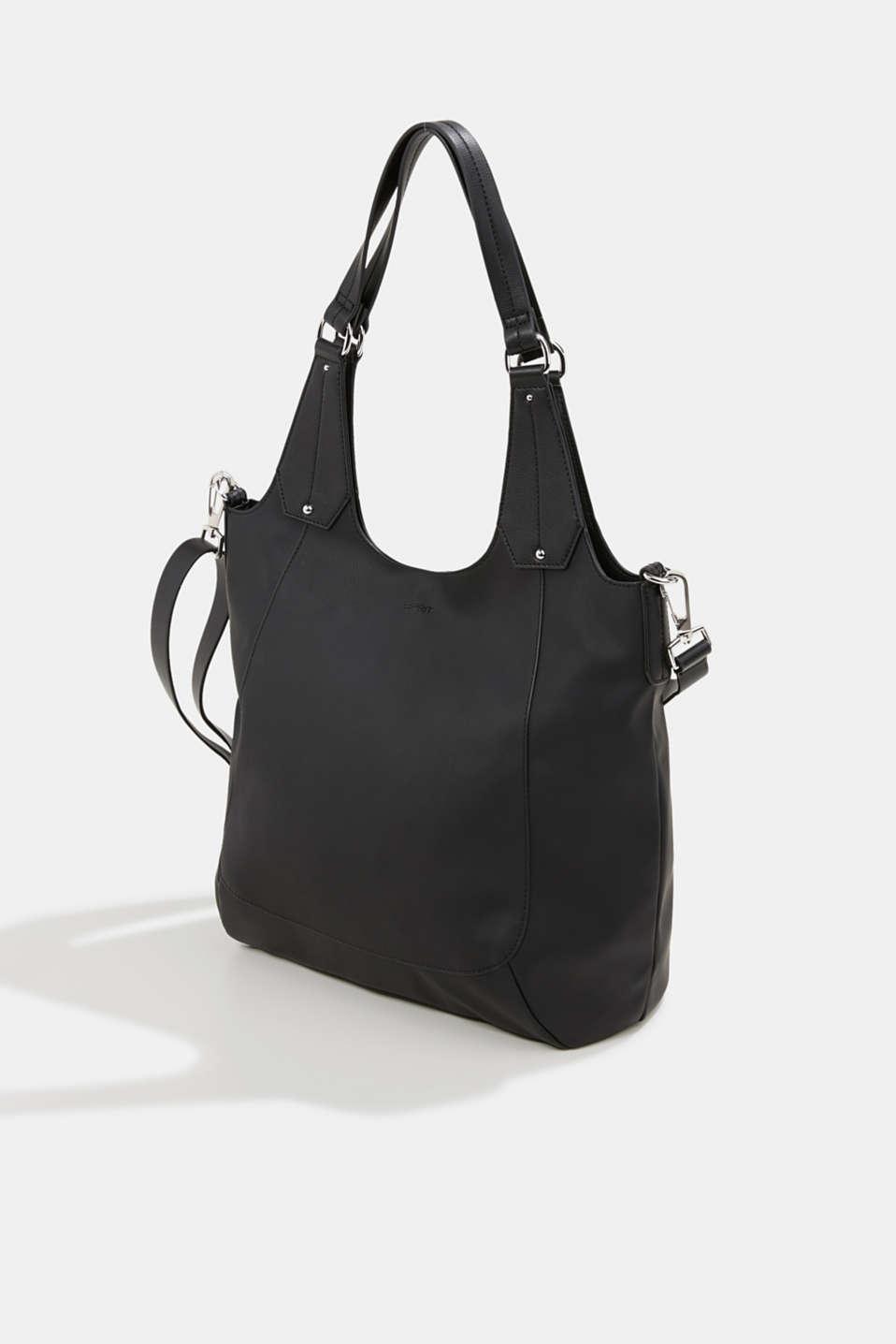 XL shopper in faux leather, vegan, BLACK, detail image number 2