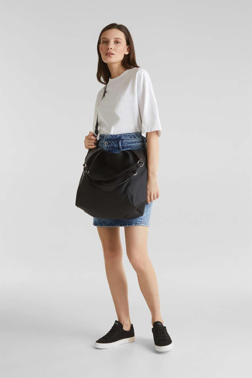 XL shopper in faux leather, vegan, BLACK, detail image number 5