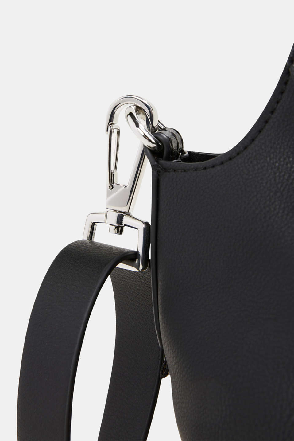 XL shopper in faux leather, vegan, BLACK, detail image number 3