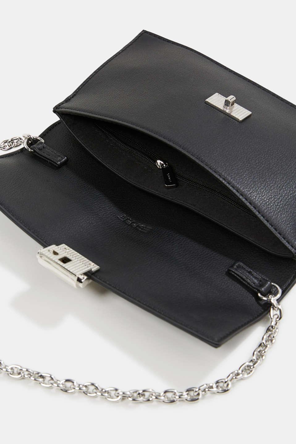Clutch with shoulder chain, vegan, BLACK, detail image number 4