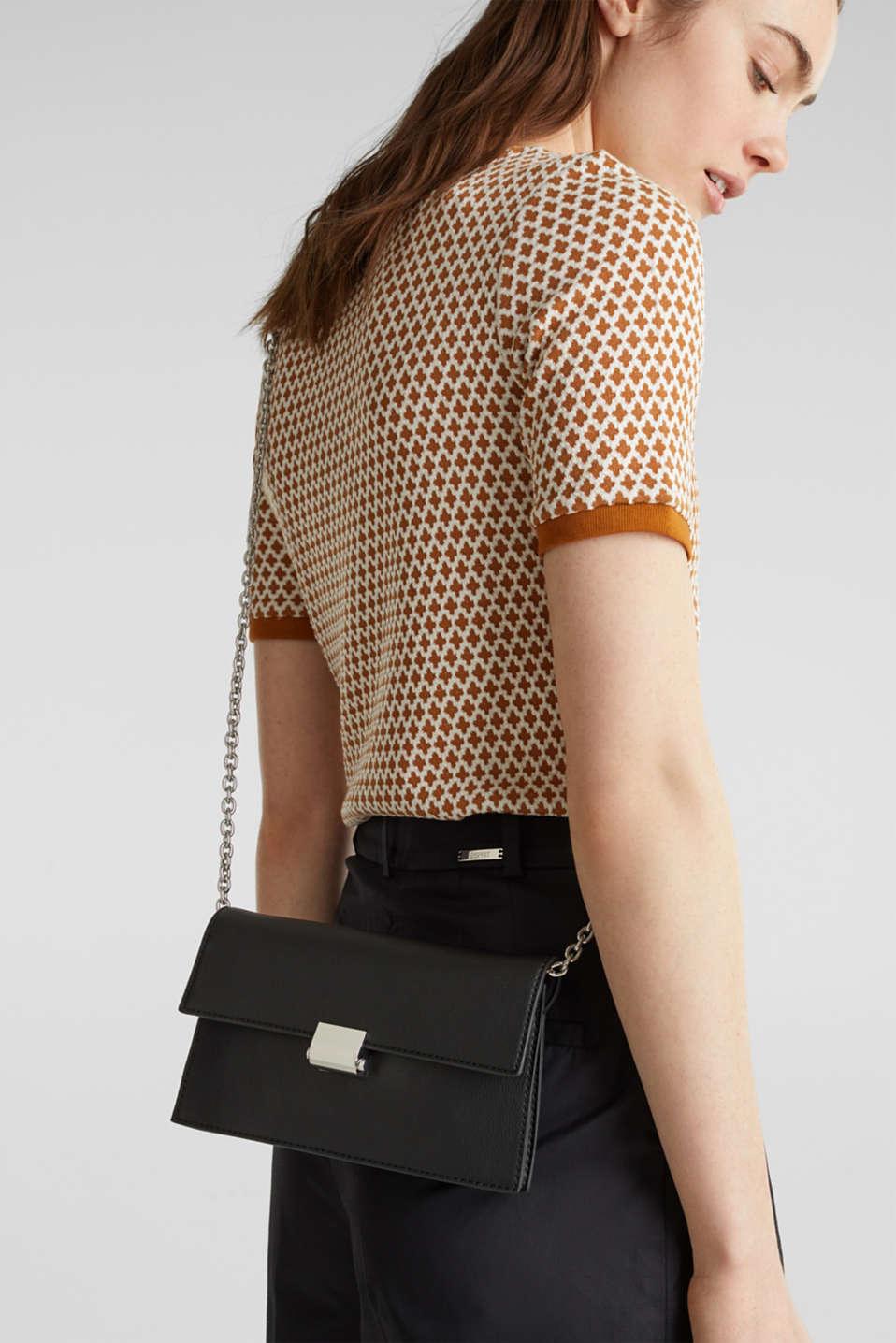 Clutch with shoulder chain, vegan, BLACK, detail image number 1