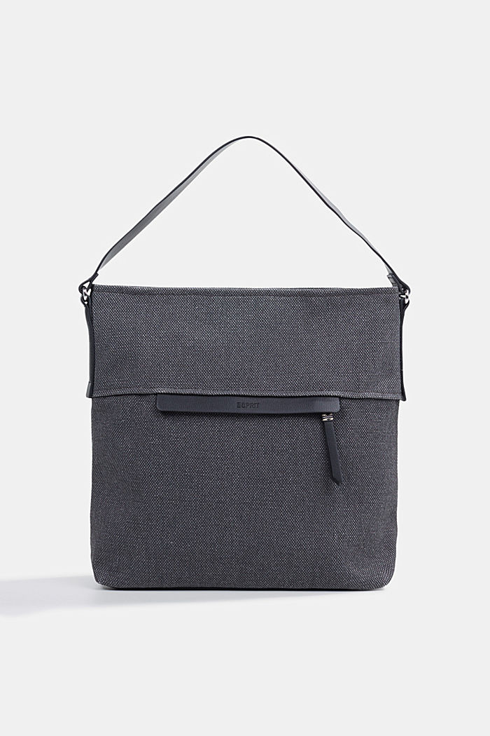 Hobo bag van canvas, BLACK, detail image number 0