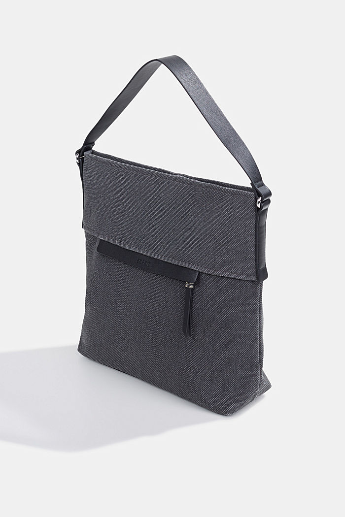 Hobo bag van canvas, BLACK, detail image number 2
