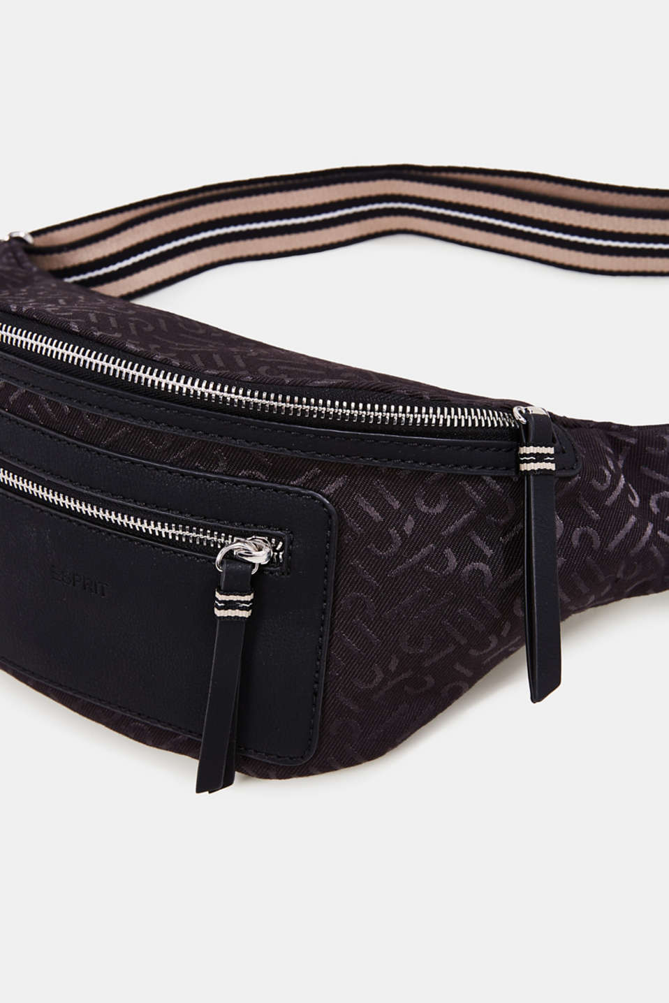 Bum bag with all-over monograms, BLACK, detail image number 3
