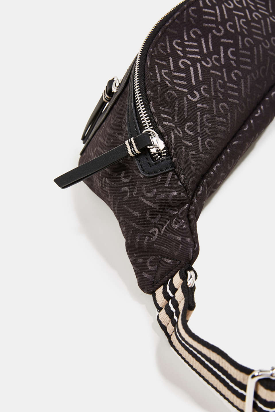 Bum bag with all-over monograms, BLACK, detail image number 2