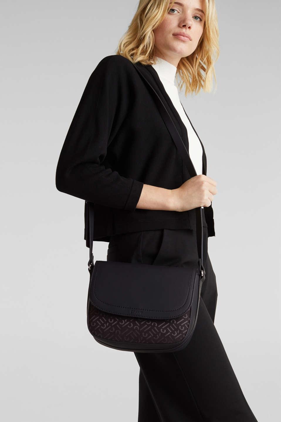 Shoulder bag with a monogram pattern, BLACK, detail image number 1