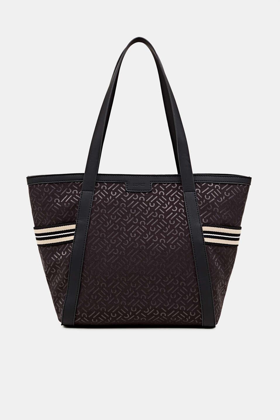 Monogram tote bag in a mix of materials, BLACK, detail image number 0