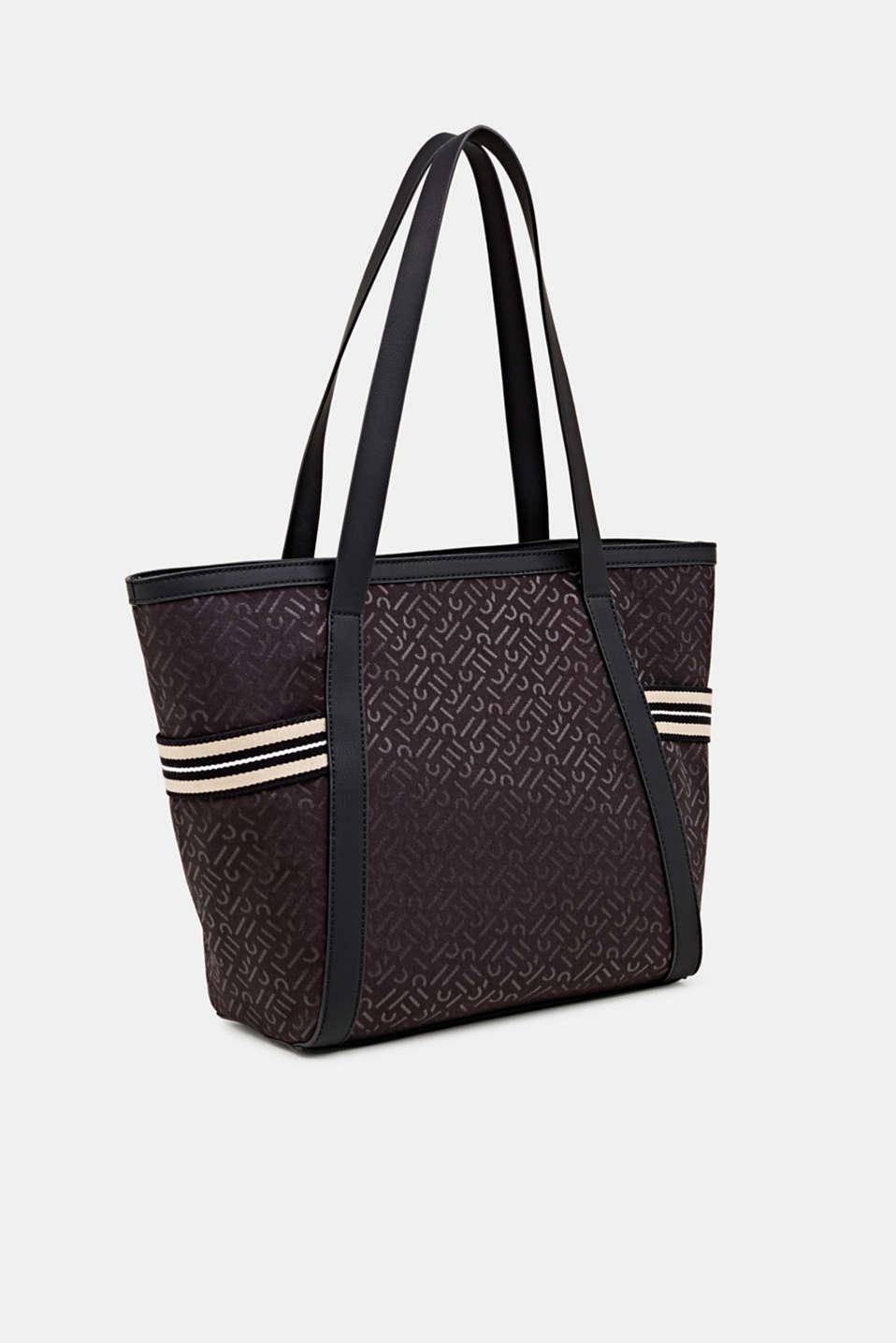 Monogram tote bag in a mix of materials, BLACK, detail image number 2