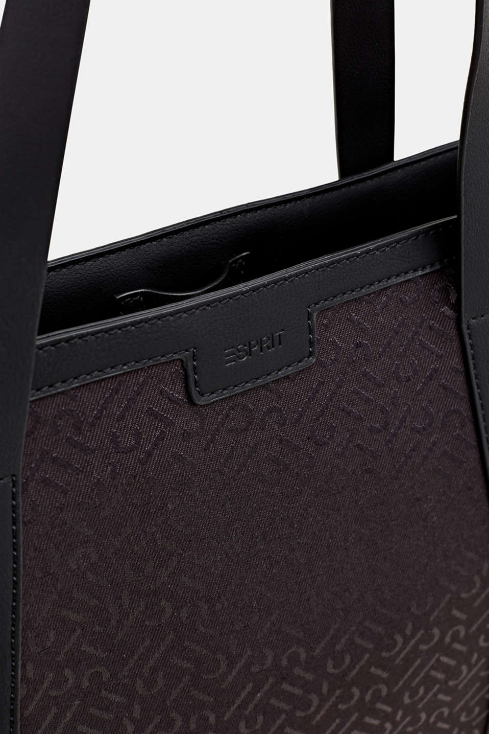 Monogram tote bag in a mix of materials, BLACK, detail image number 5