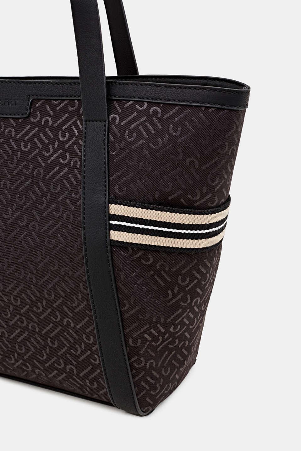 Monogram tote bag in a mix of materials, BLACK, detail image number 3