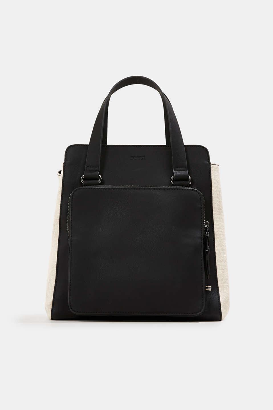 Mixed material shoulder bag, vegan, BLACK, detail image number 0