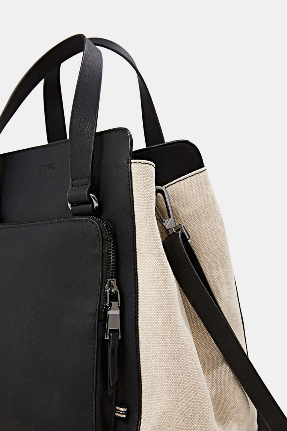 Mixed material shoulder bag, vegan, BLACK, detail image number 3