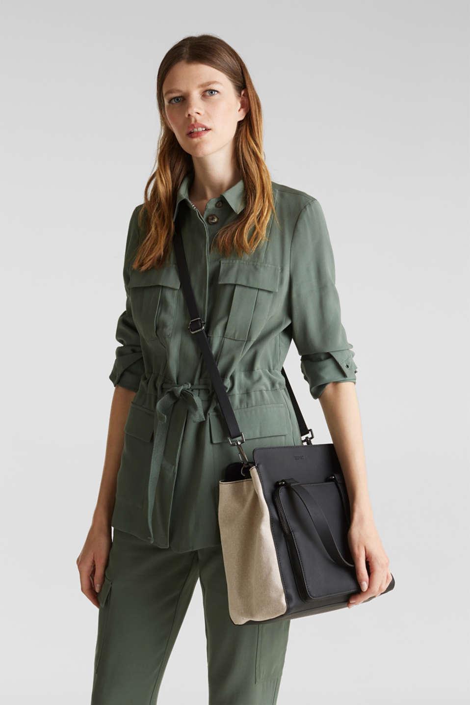 Mixed material shoulder bag, vegan, BLACK, detail image number 1