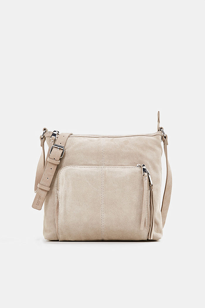 Borsa a tracolla in pelle scamosciata, BEIGE, detail image number 0