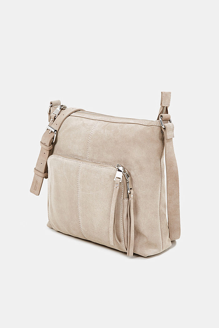 Borsa a tracolla in pelle scamosciata, BEIGE, detail image number 2