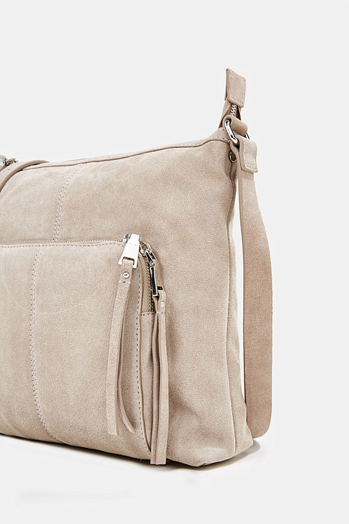 Borsa a tracolla in pelle scamosciata, BEIGE, detail image number 5