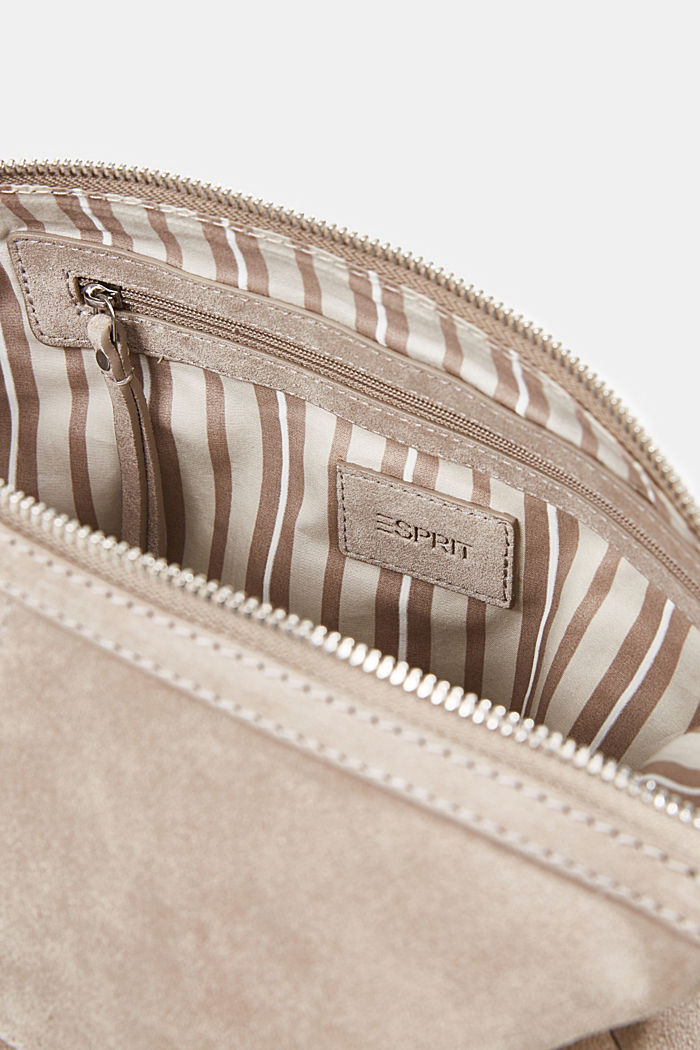 Borsa a tracolla in pelle scamosciata, BEIGE, detail image number 4