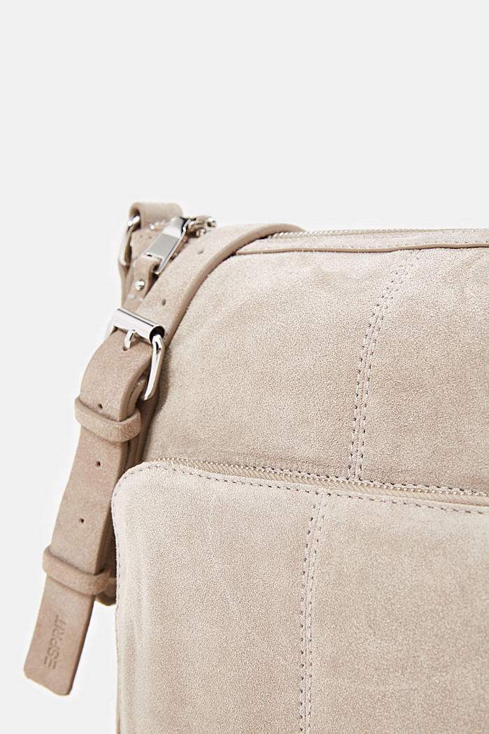 Borsa a tracolla in pelle scamosciata, BEIGE, detail image number 3