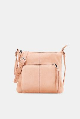 Suede shoulder bag, PEACH, detail
