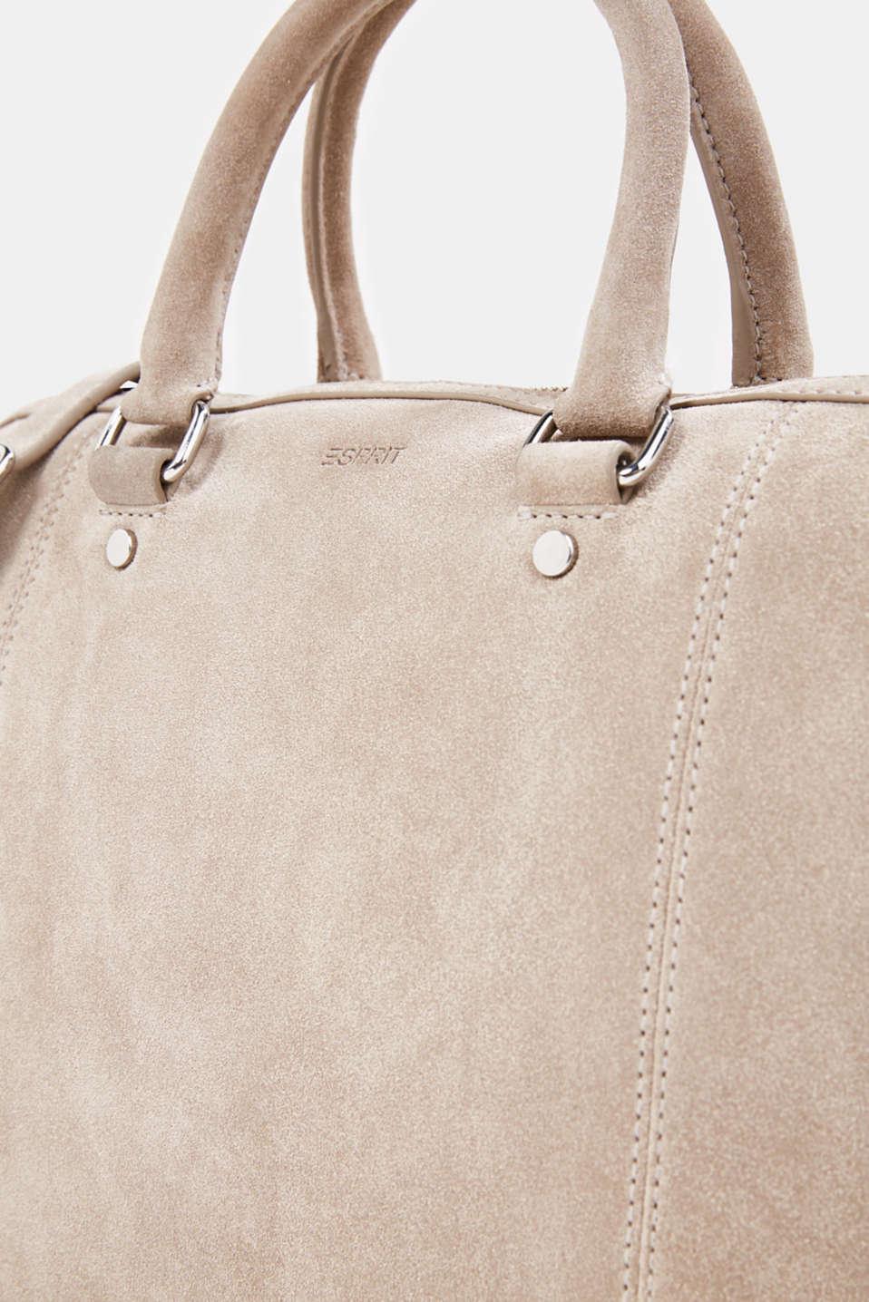 Shopper made of 100% suede, BEIGE, detail image number 3