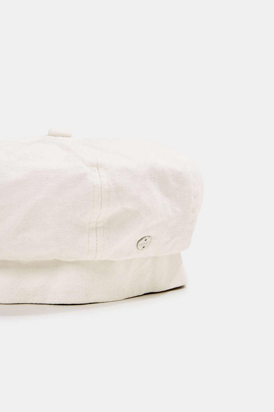 Denim beret in 100% cotton, OFF WHITE, detail image number 1