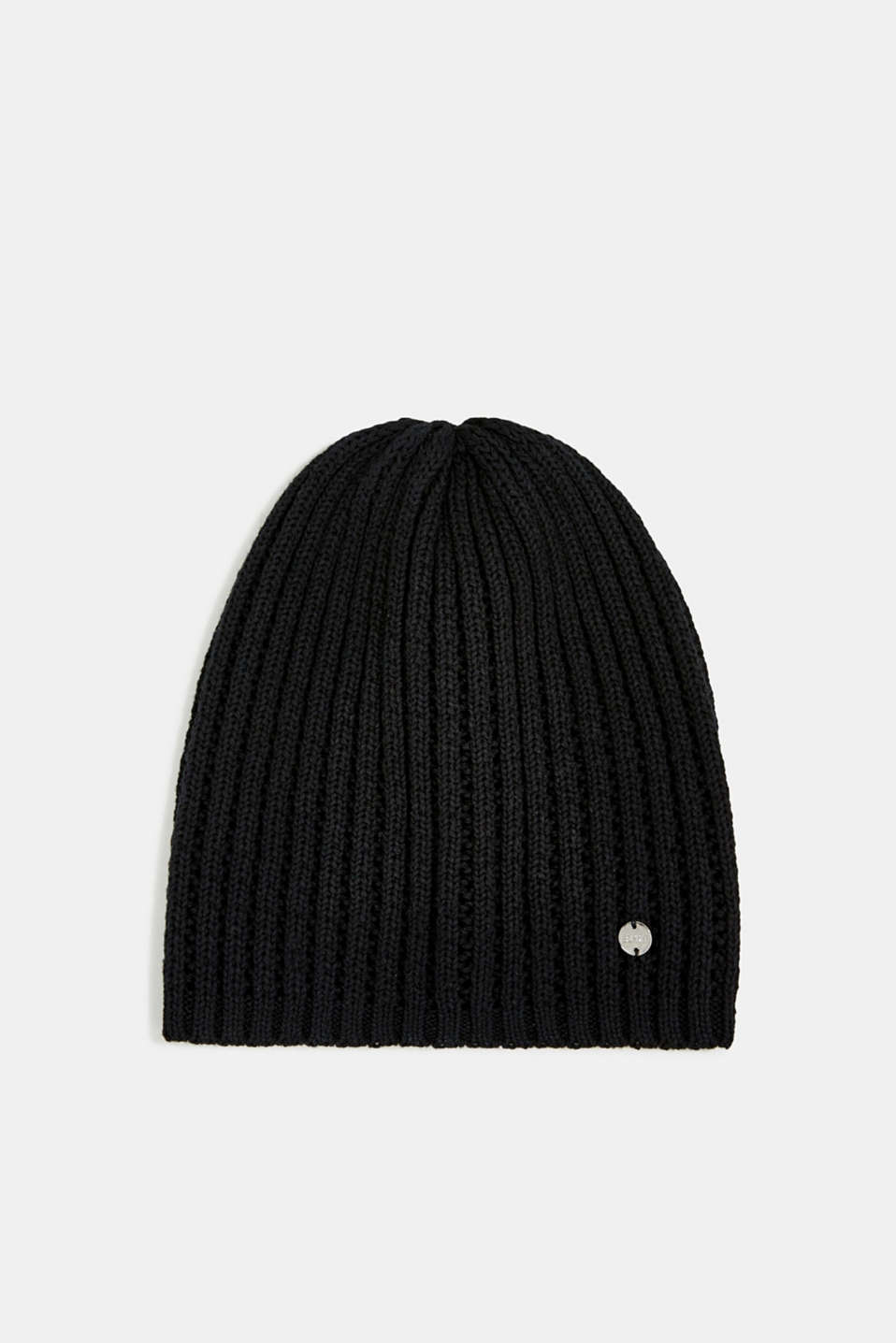 100% cotton hat with a knit pattern, BLACK, detail image number 0
