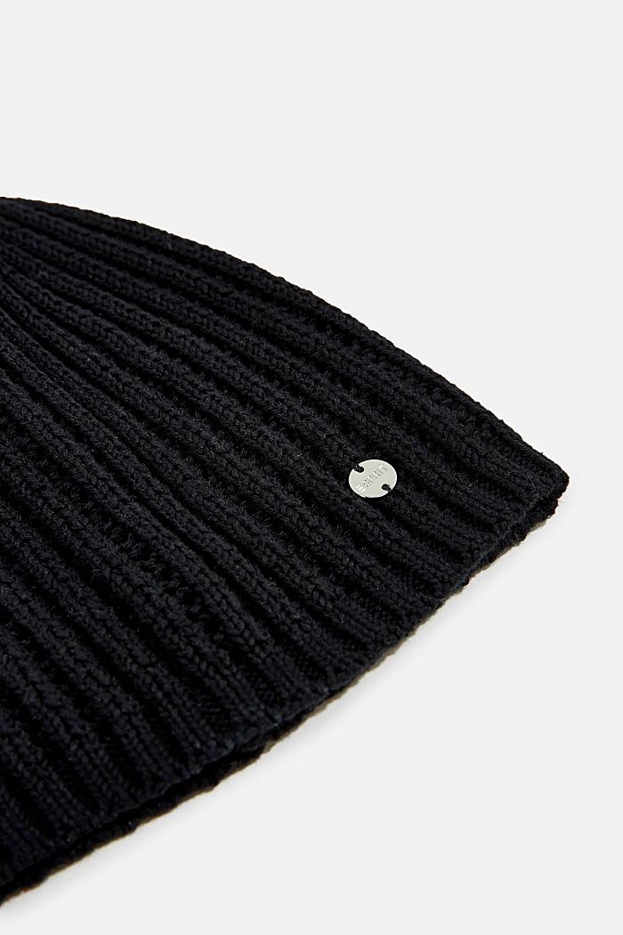 100% katoen: muts met breimotief, BLACK, detail image number 1