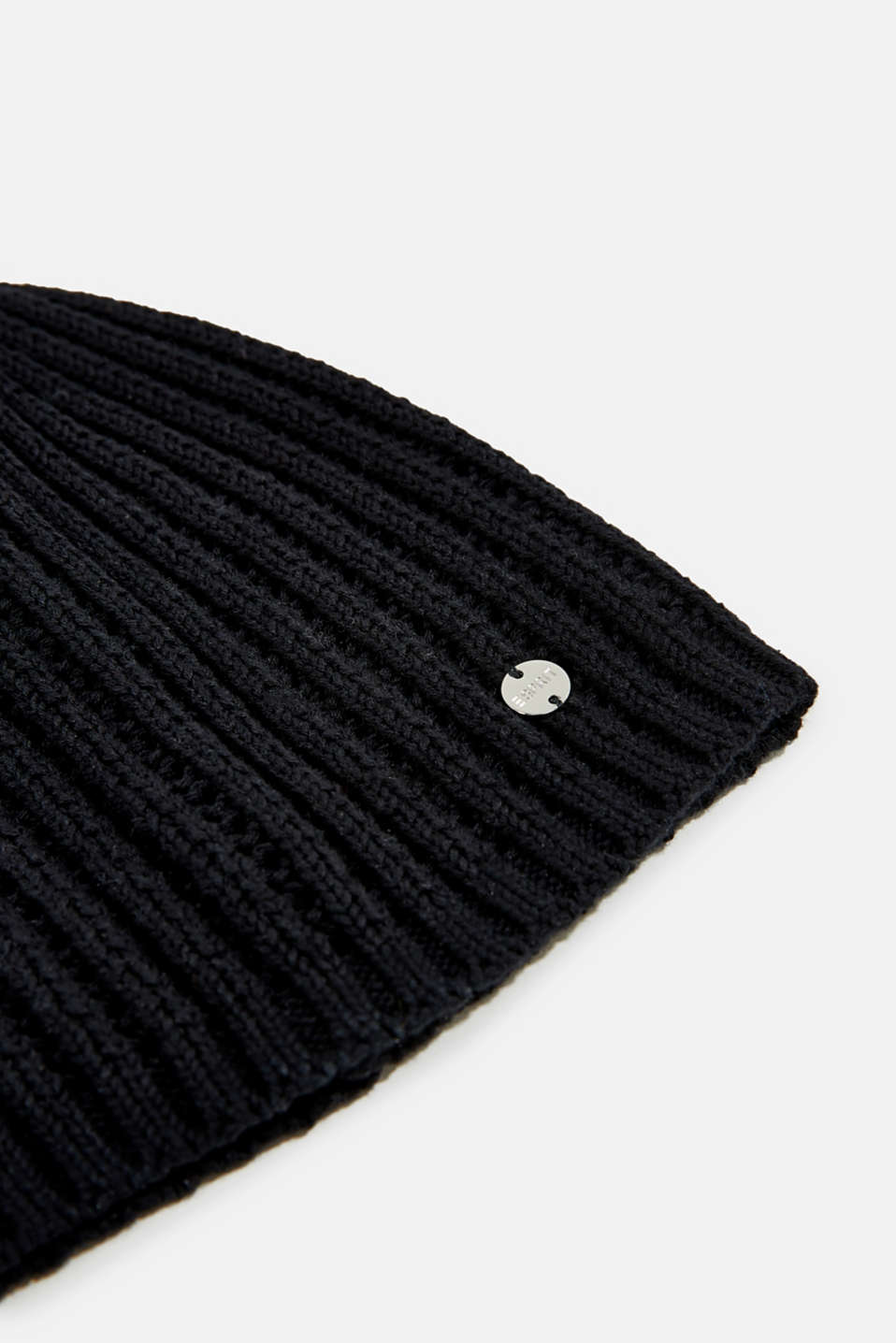 100% cotton hat with a knit pattern, BLACK, detail image number 1