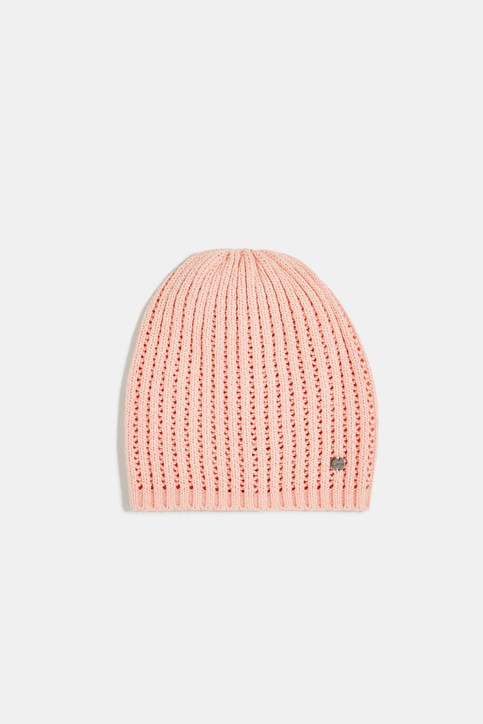 Esprit - 100% cotton hat with a knit pattern