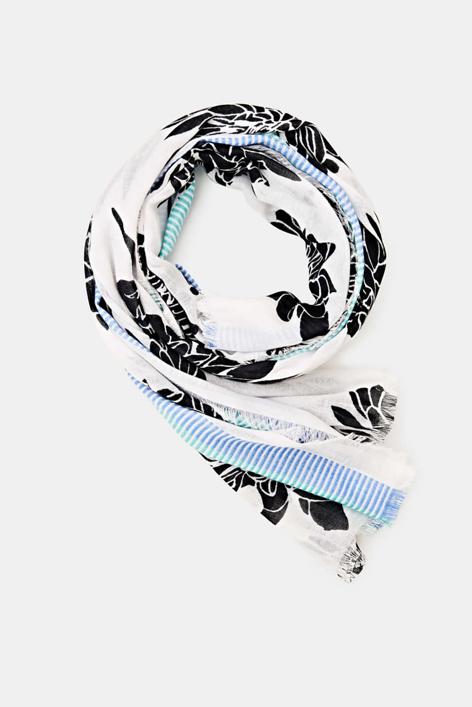 Floral scarf containing LENZING™ ECOVERO™, BLACK, detail image number 0