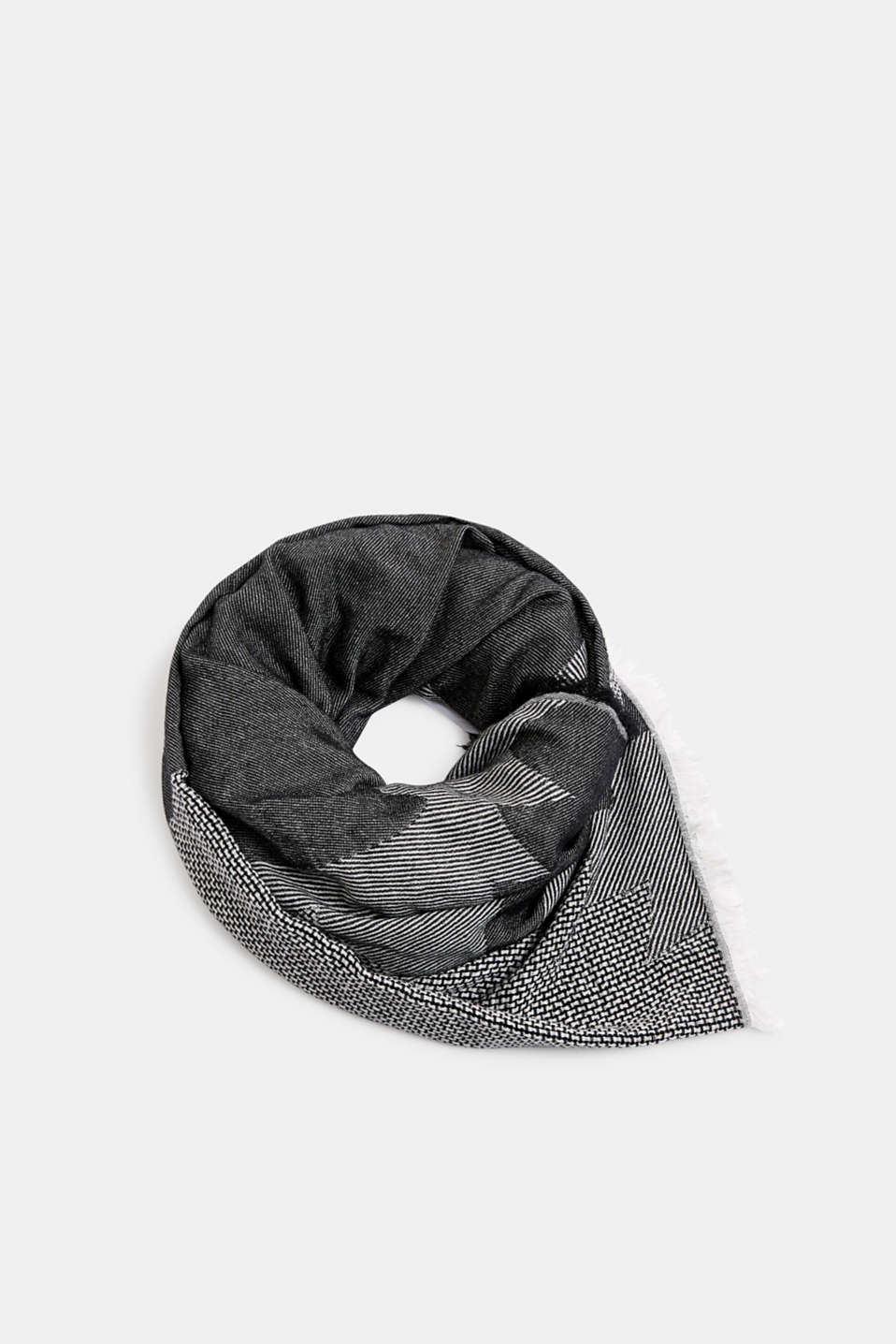 Scarf with woven structure, 100% cotton, BLACK, detail image number 0