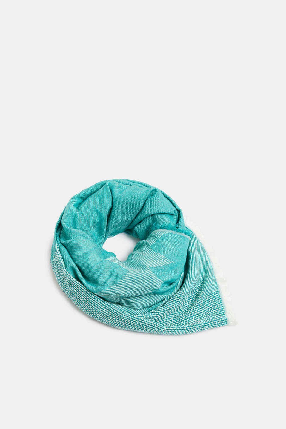 Scarf with woven structure, 100% cotton, TEAL GREEN, detail image number 0