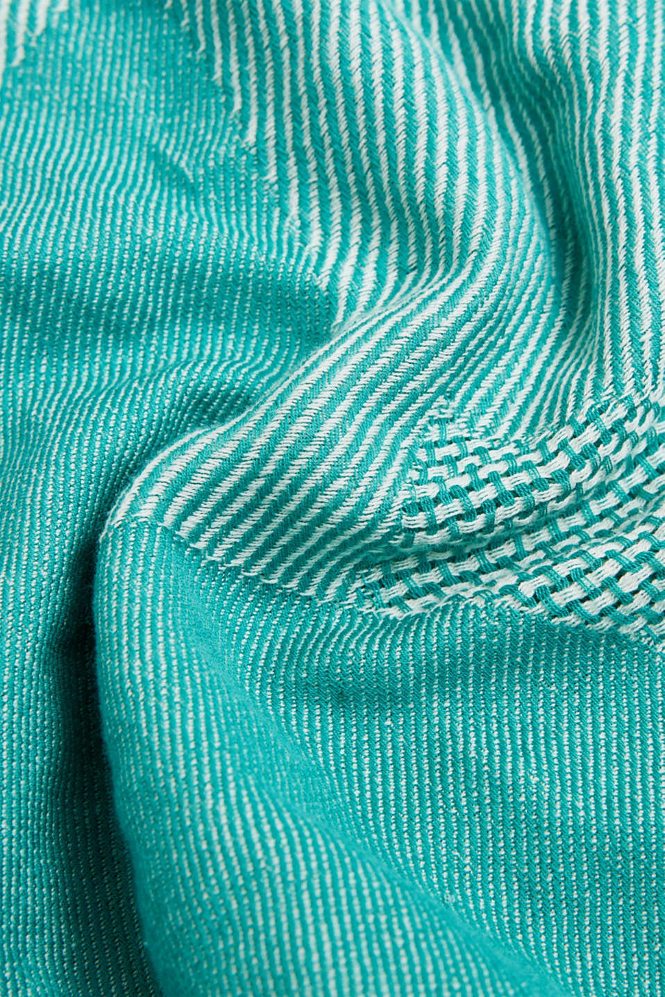 Scarf with woven structure, 100% cotton, TEAL GREEN, detail image number 2