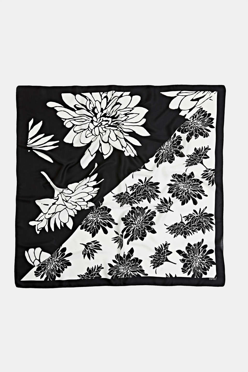 Scarf with a floral print, BLACK, detail image number 2
