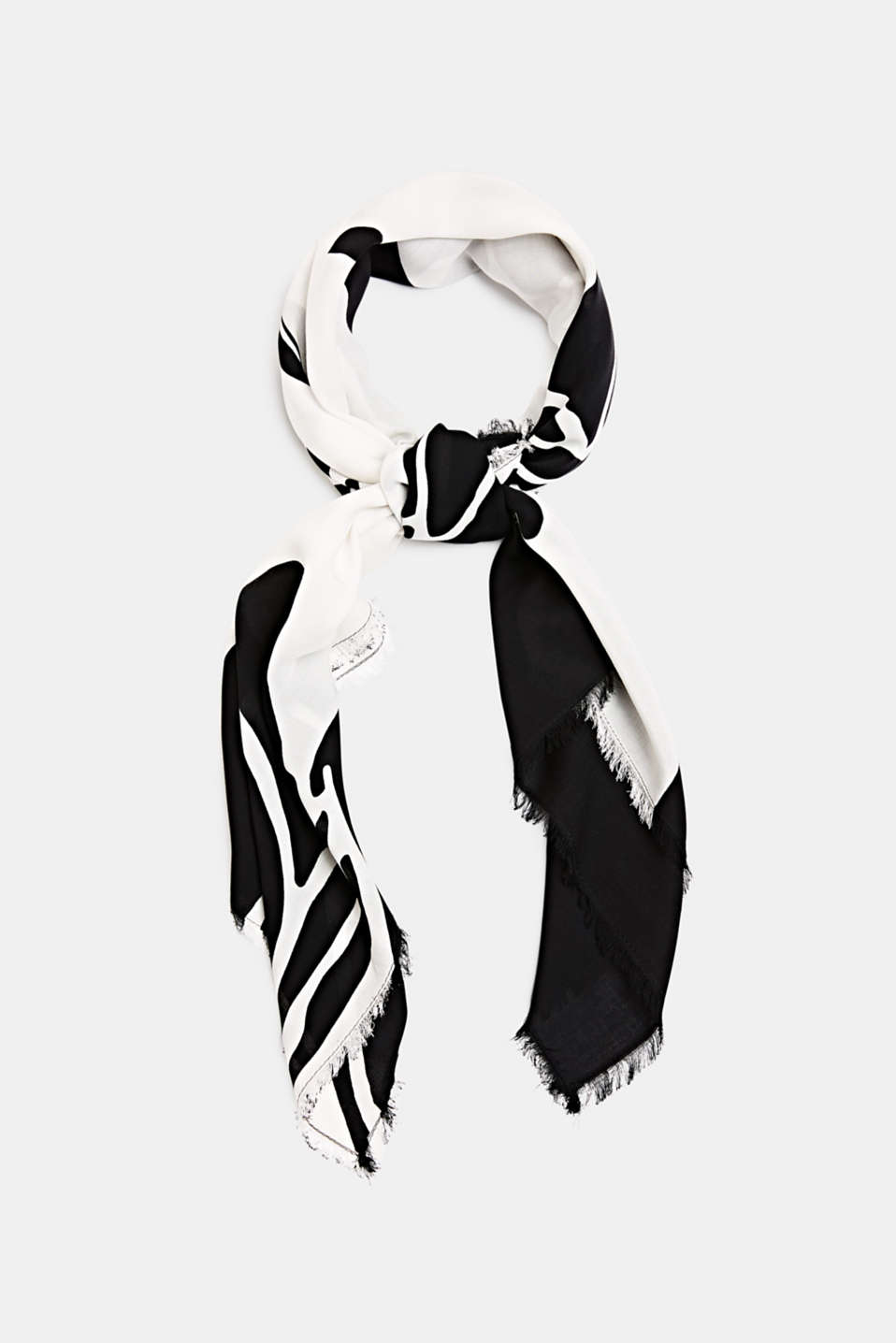 Scarf with a print, 100% LENZING™ ECOVERO™, BLACK, detail image number 0