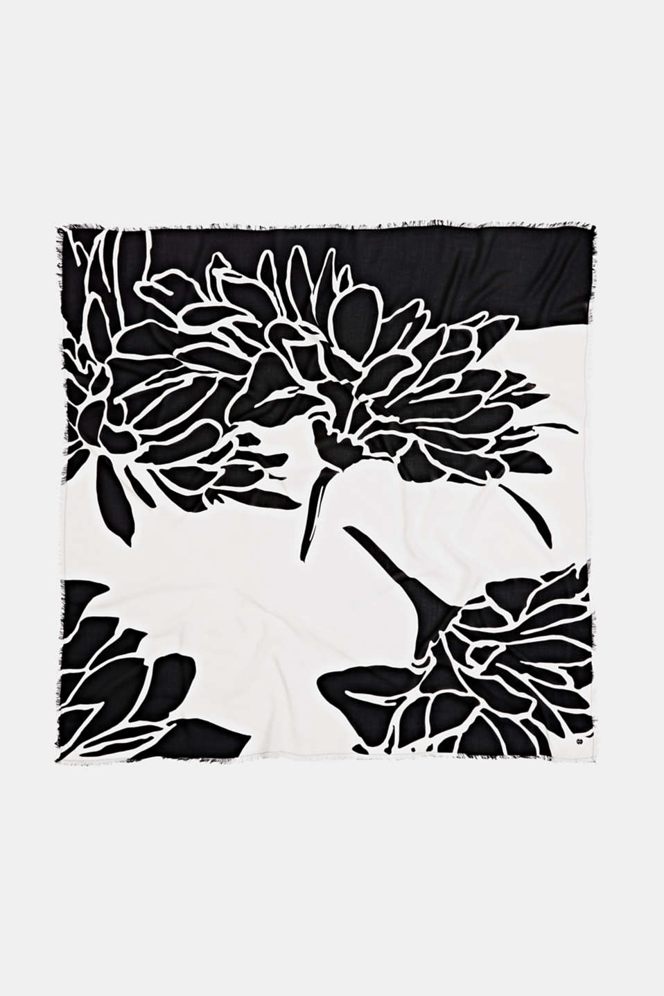 Scarf with a print, 100% LENZING™ ECOVERO™, BLACK, detail image number 3