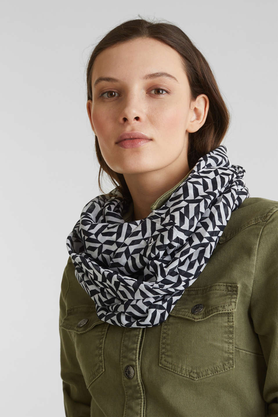 Printed snood, recycled, OFF WHITE, detail image number 1