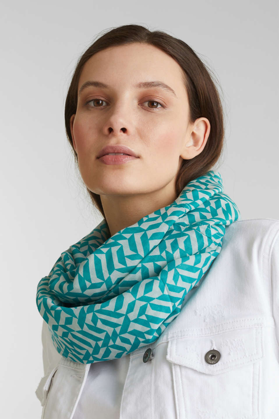 Printed snood, recycled, DUSTY GREEN, detail image number 1
