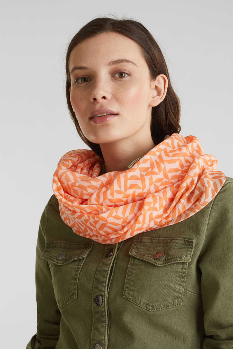Printed snood, recycled, SALMON, detail image number 1