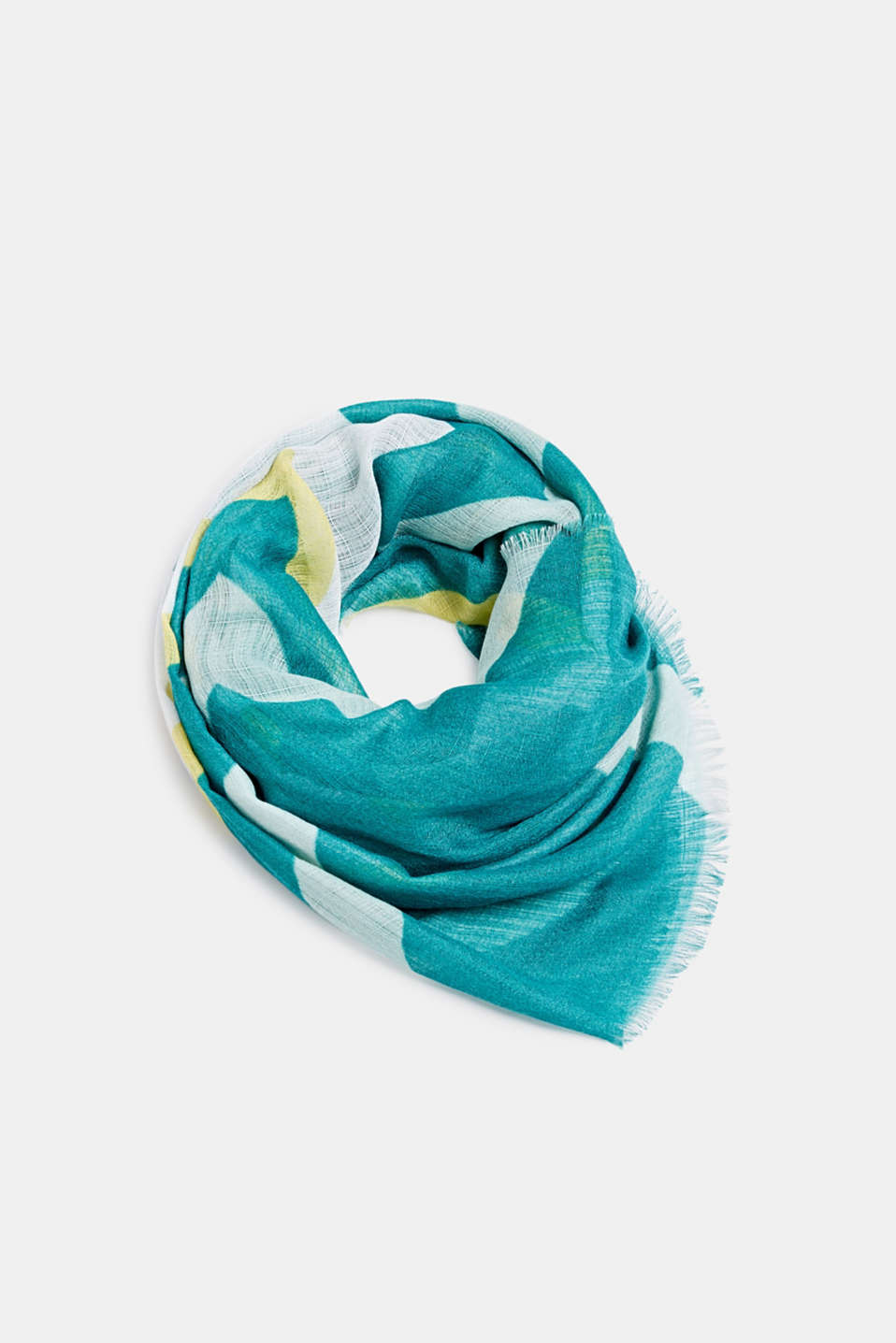 REPREVE block stripe scarf, recycled, TEAL GREEN, detail image number 0