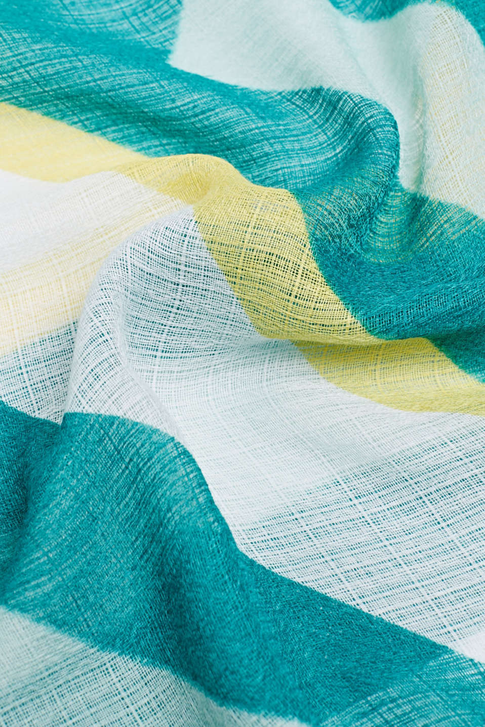 REPREVE block stripe scarf, recycled, TEAL GREEN, detail image number 2