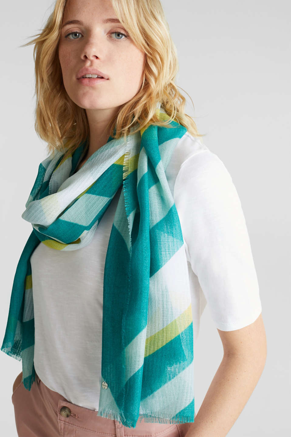 REPREVE block stripe scarf, recycled, TEAL GREEN, detail image number 1