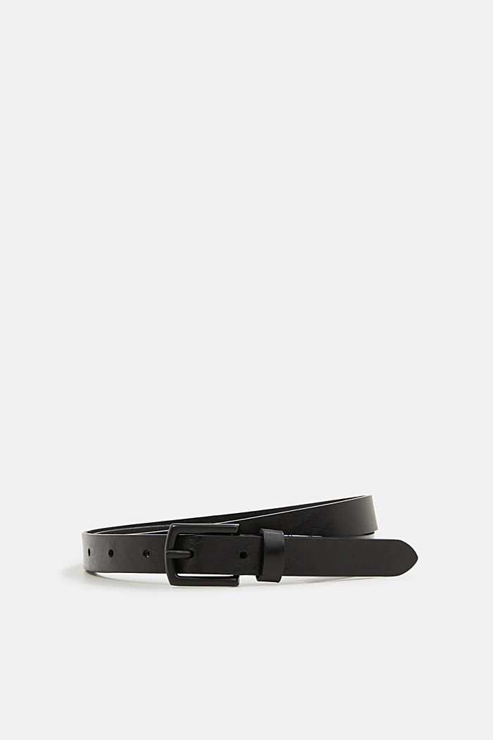 Narrow belt made of chromium-free leather, BLACK, detail image number 0