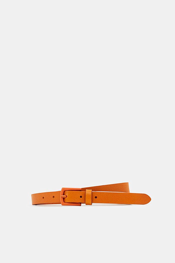 Narrow belt made of chromium-free leather, ORANGE, detail image number 0